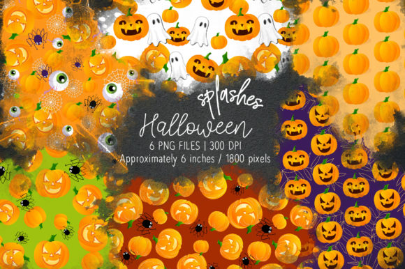 Print on Demand: Halloween Watercolor Splashes 02 Graphic Illustrations By loyaarts