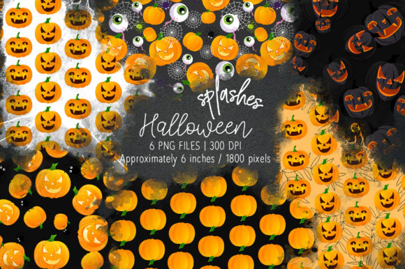 Print on Demand: Halloween Watercolor Splashes 03 Graphic Illustrations By loyaarts