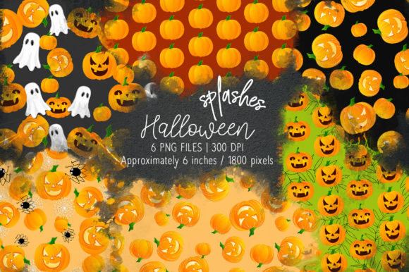 Print on Demand: Halloween Watercolor Splashes 04 Graphic Illustrations By loyaarts