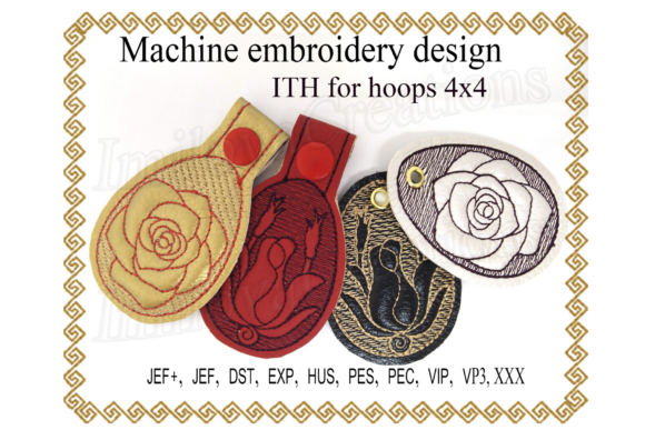 Key Fob Rose - in the Hoop Embroidery