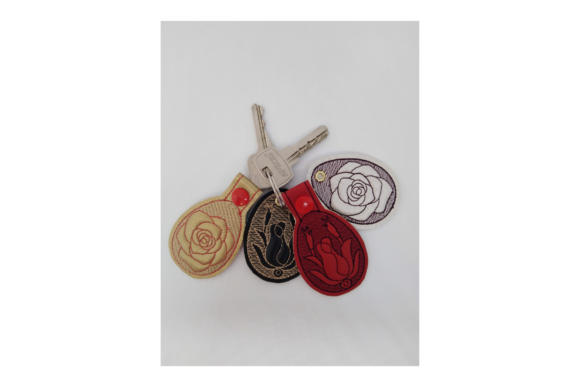 Key Fob Rose - in the Hoop Embroidery Preview