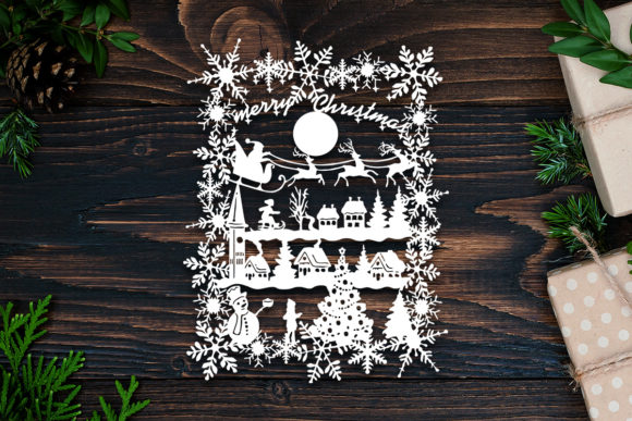 Kirigami Xmas 16 Paper Cut Graphic 3D Shadow Box By LightBoxGoodMan
