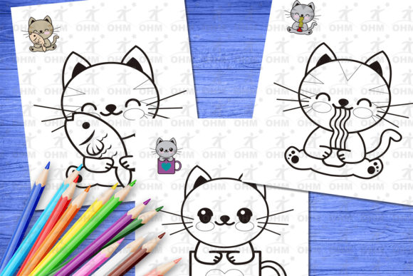 Kitties Coloring Pages For Kids 3 (Graphic) By Oscar Mattey · Creative  Fabrica