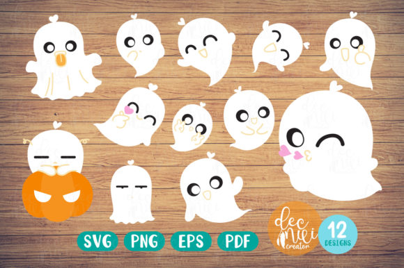 Print on Demand: Little Ghost - Clipart Set No.01 Graphic Illustrations By decnui.creator