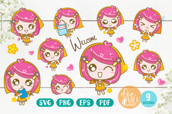 Print on Demand: Little Girl Welcome Digital Clipart Graphic Objects By decnui.creator