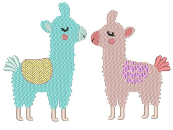 Loving Llamas Baby Animals Embroidery Design By carasembor