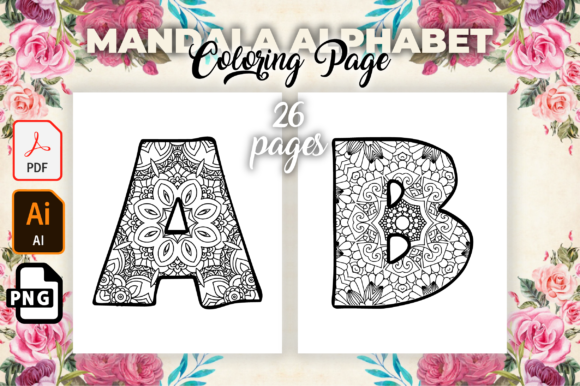 Print on Demand: Mandala Alphabet Coloring Pages for Kids Graphic KDP Interiors By MK DESIGN