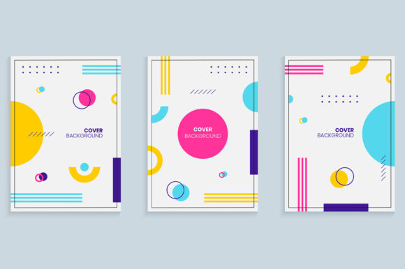 Memphis Style Cover Design Template Set Graphic Backgrounds By medelwardi