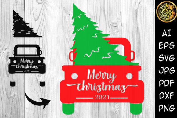 Print on Demand: Merry Christmas 2021 Tree and Truck SVG Graphic Illustrations By V-Design Creator