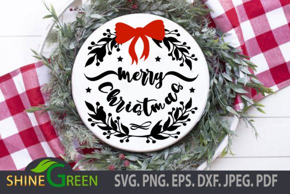 Print on Demand: Merry Christmas Floral Round Ornament Graphic Crafts By ShineGreenArt