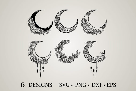 Moon Flower Svg Graphic Print Templates By Euphoria Design