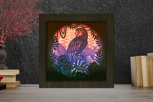 Parrot Light Box Shadow Box Graphic 3D Shadow Box By LightBoxGoodMan