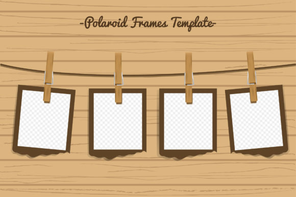 Polaroid Frames Template in Retro Style Graphic Product Mockups By Aradevi