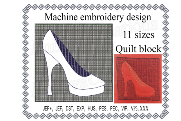 Quilt Block Shoe with Butterfly Embroidery