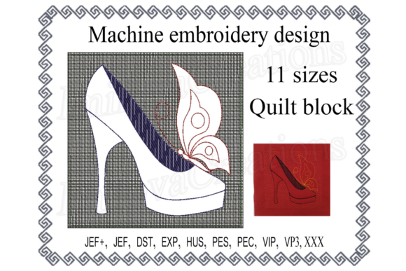 Quilt Block Shoe with Butterfly Sewing & Crafts Embroidery Design By ImilovaCreations