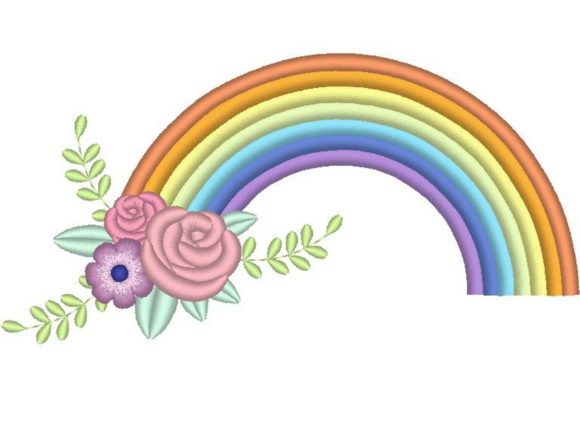 Rainbow and Flowers Boys & Girls Embroidery Design By carasembor