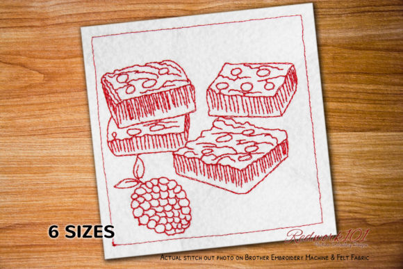 Raspberry Crumble Bars Dessert & Sweets Embroidery Design By Redwork101