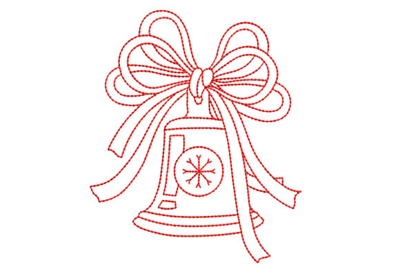Redwork Christmas Bell Christmas Embroidery Design By BabyNucci Embroidery Designs