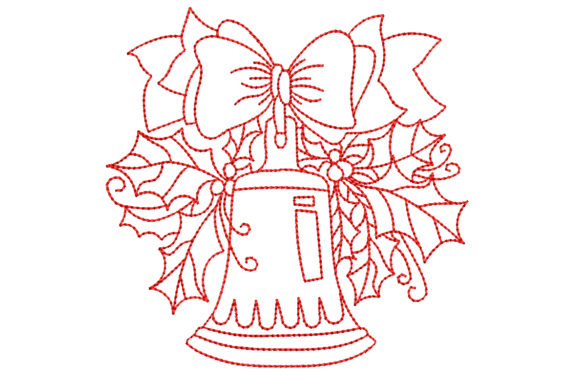 Redwork Christmas Bell with Big Bow Christmas Embroidery Design By BabyNucci Embroidery Designs