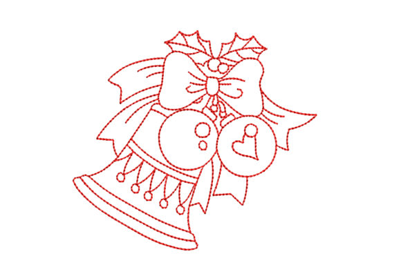 Redwork Christmas Bell with Bow Christmas Embroidery Design By BabyNucci Embroidery Designs