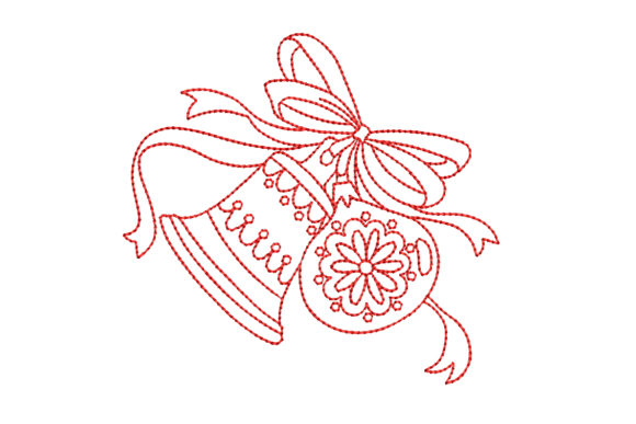 Redwork Christmas Bell with Ornament Christmas Embroidery Design By BabyNucci Embroidery Designs
