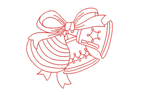 Redwork Christmas Bells with Bow Christmas Embroidery Design By BabyNucci Embroidery Designs