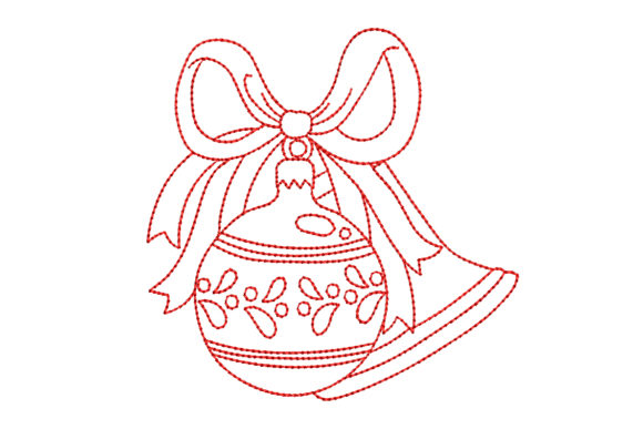 Redwork Christmas Ornament and Bell Christmas Embroidery Design By BabyNucci Embroidery Designs