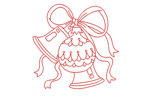 Redwork Christmas Ornament and Two Bells Christmas Embroidery Design By BabyNucci Embroidery Designs