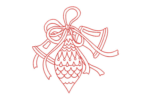 Redwork Christmas Ornament with Bells Christmas Embroidery Design By BabyNucci Embroidery Designs