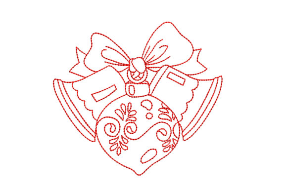 Redwork Christmas with Two Bells Christmas Embroidery Design By BabyNucci Embroidery Designs