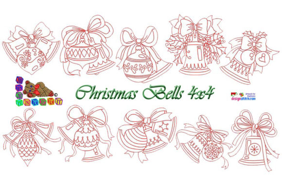 Redwork Christmas with Two Bells Embroidery Download