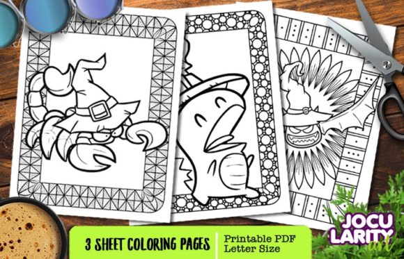 Scorpion, Dragon & Bat in Halloween Mode Graphic Coloring Pages & Books Kids By JocularityArt