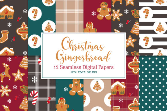 Seamless Pattern Christmas Gingerbread Graphic Patterns By Sweet Shop Design
