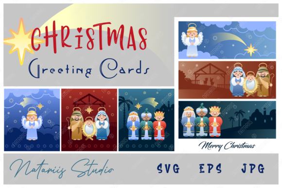 Set of 2 Christmas Cards. Graphic Illustrations By Natariis Studio