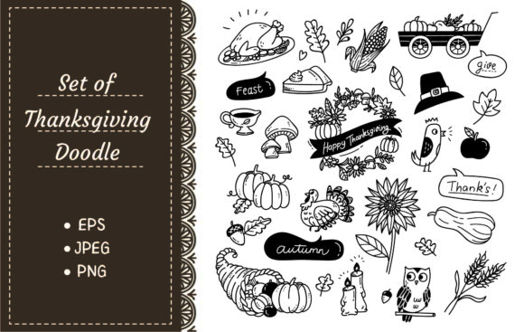 Set of Hand Drawn Thanksgiving Doodle Graphic Illustrations By Big Barn Doodles