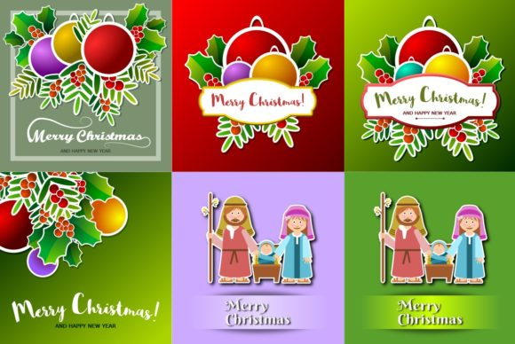 Set of Eight Christmas Cards Graphic Illustrations By americodealmeida
