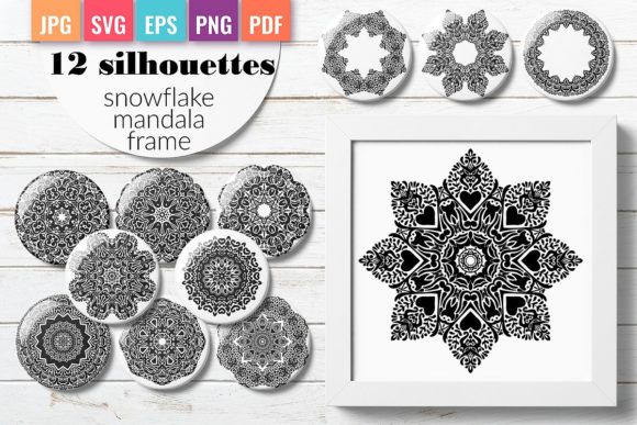 Silhouette of Snowflake, Mandala, Frame Graphic Crafts By DoodleBox