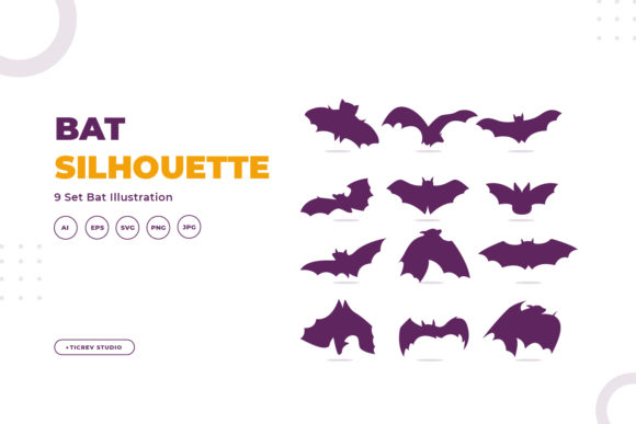 Silhouettes of Bat Graphic Illustrations By OKEVECTOR