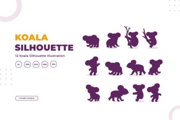 Silhouettes of Koala Graphic Illustrations By OKEVECTOR