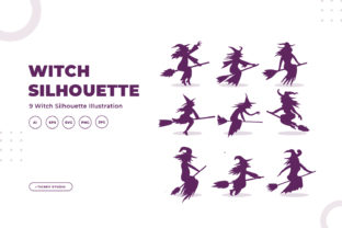 Silhouettes of Witch Graphic Illustrations By OKEVECTOR