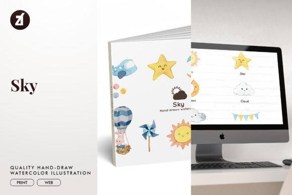 Sky Watercolor Illustration Graphic Illustrations By Chanut is watercolor