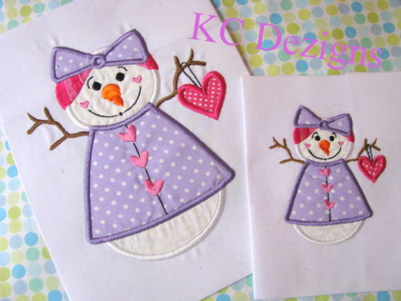 Snow Lady Holding Heart Applique Design Embroidery