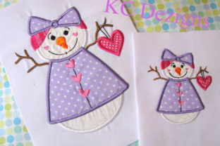Snow Lady Holding Heart Applique Design Winter Embroidery Design By karen50