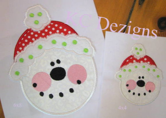 Snowman Face with Christmas Beanie Embroidery