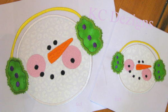 Snowman Face with Green Ear Muffs Christmas Embroidery Design By karen50