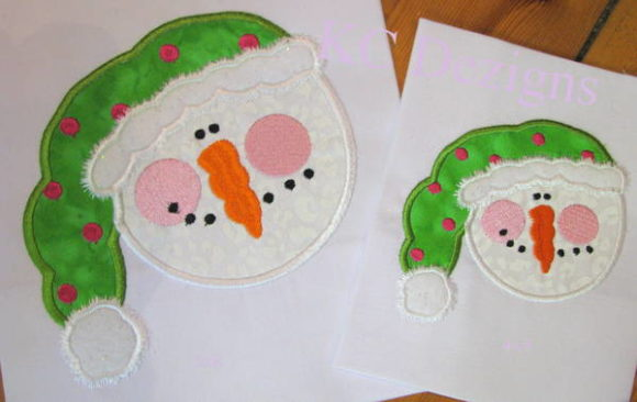 Snowman Face with Green Hat Applique Christmas Embroidery Design By karen50