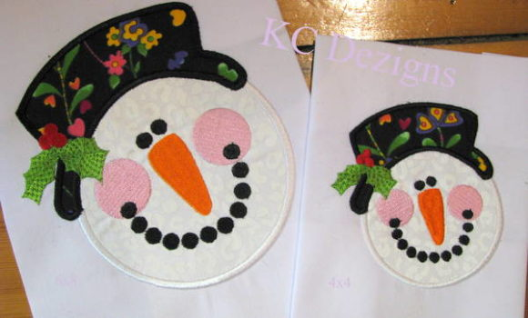 Snowman Face with Hat & Holly Applique Christmas Embroidery Design By karen50