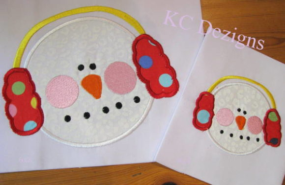 Snowman Face with Red Ear Muffs Christmas Embroidery Design By karen50