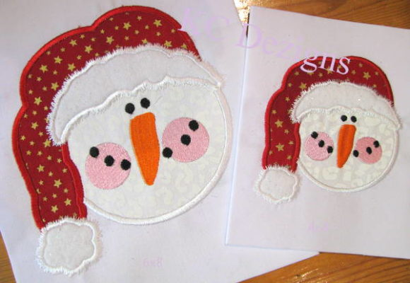 Snowman Face with Red Santa Hat Applique Embroidery