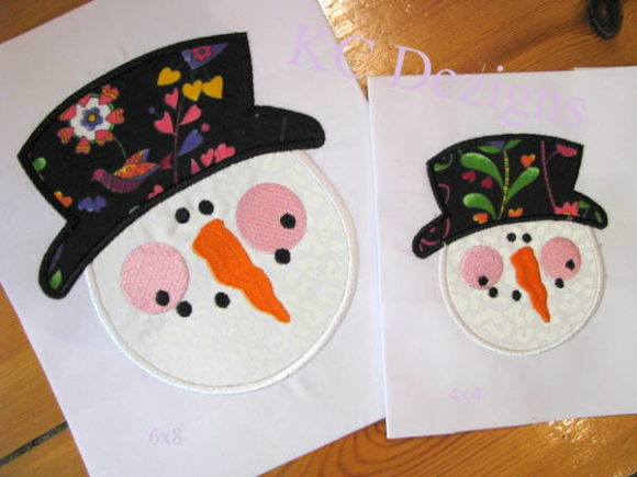 Snowman Face with Top Hat Applique Christmas Embroidery Design By karen50
